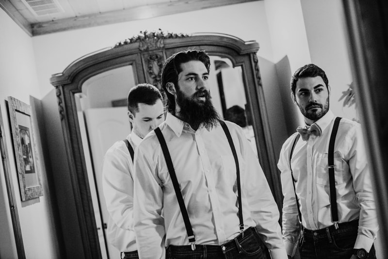 Wedding Photography, Groom and Groomsmen in black and white
