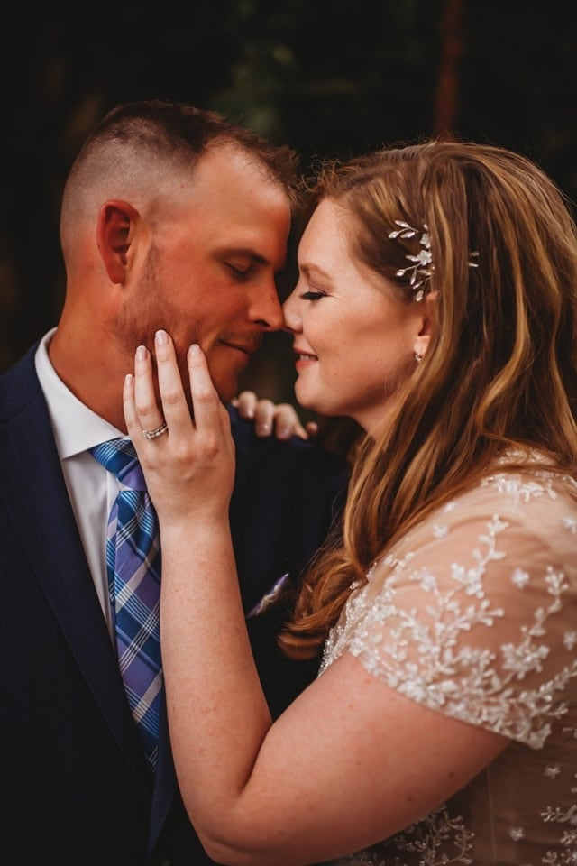 Wedding Photography, new bride and groom are about to kiss