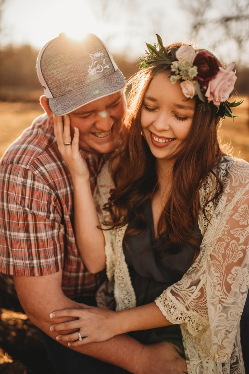Couples Photography, couple smiling together, woman wear a flower crown