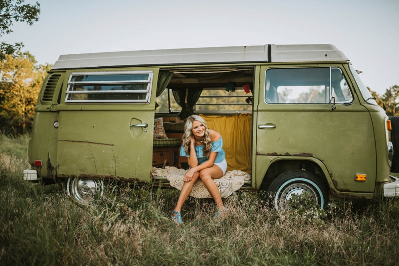 Senior Photography, girl sitting at the side door of a vw van