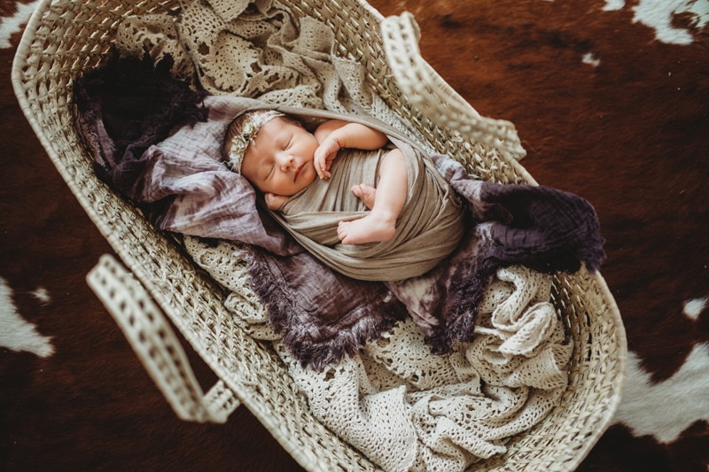 Newborn Photography, baby asleep in a Moses basket