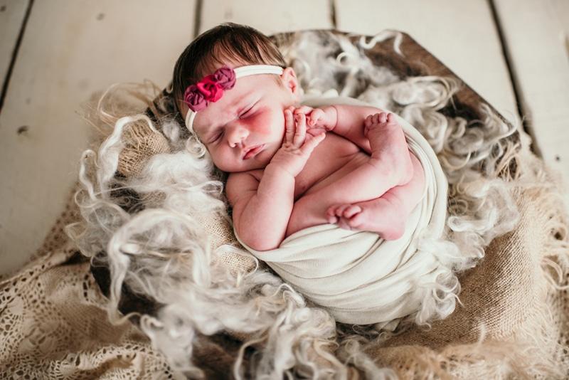 Newborn Photography, baby girl with rose headband