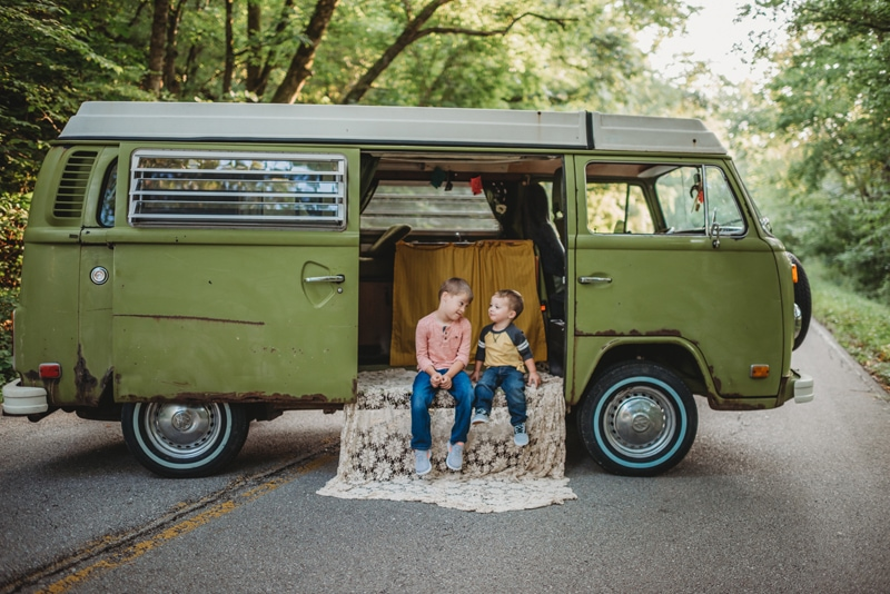 Children Photography, brother sitting together in a VW van