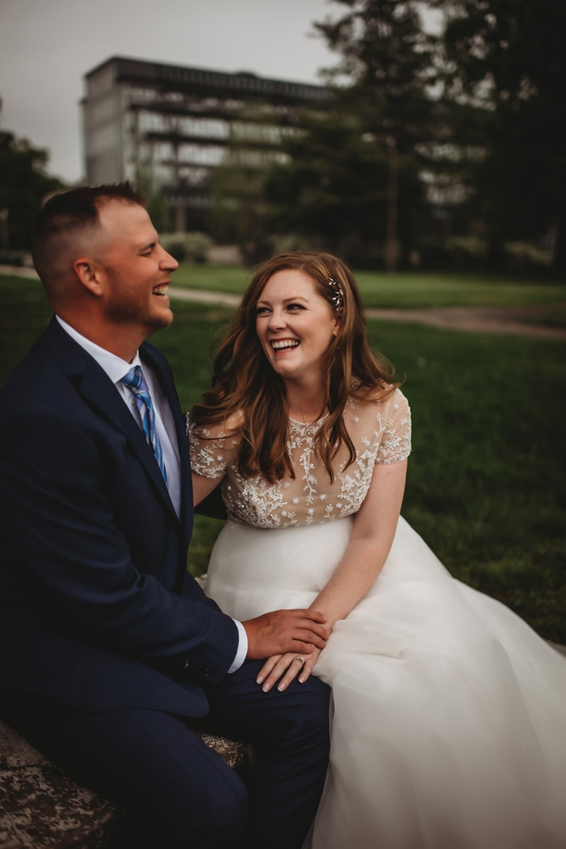 Wedding Photography, bride and groom laughing together