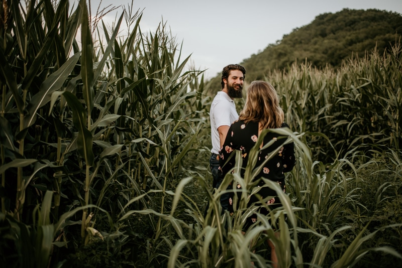 Couples Photography, couple walking through a corn field