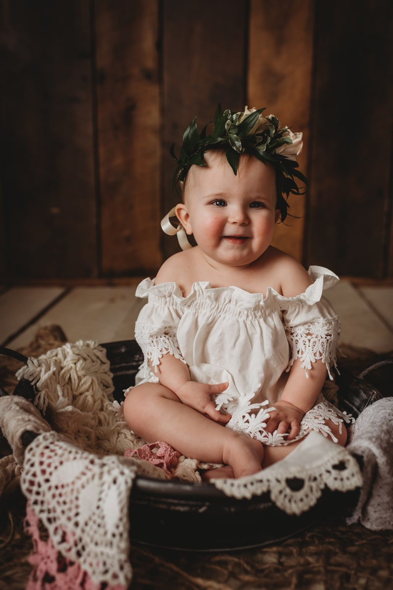 Children Photography,  little baby with flower crown