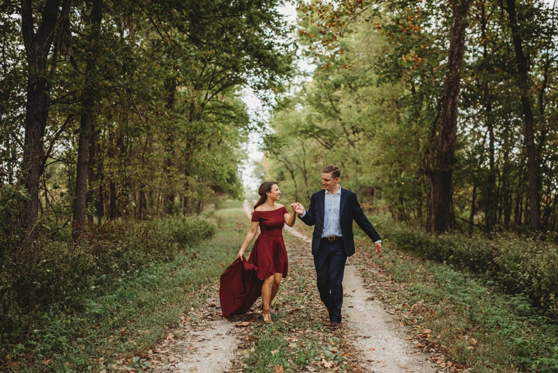 Wedding Photography, Couple walking down dirt road