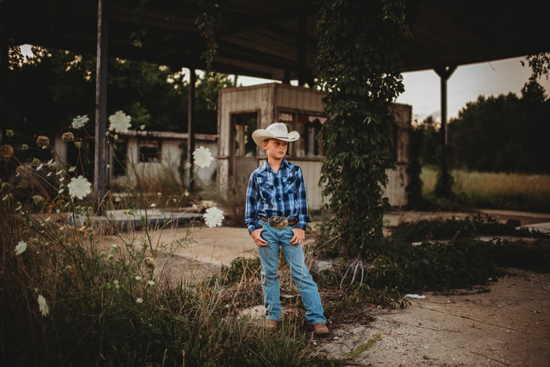 Children Photography, boy in cowboy hat