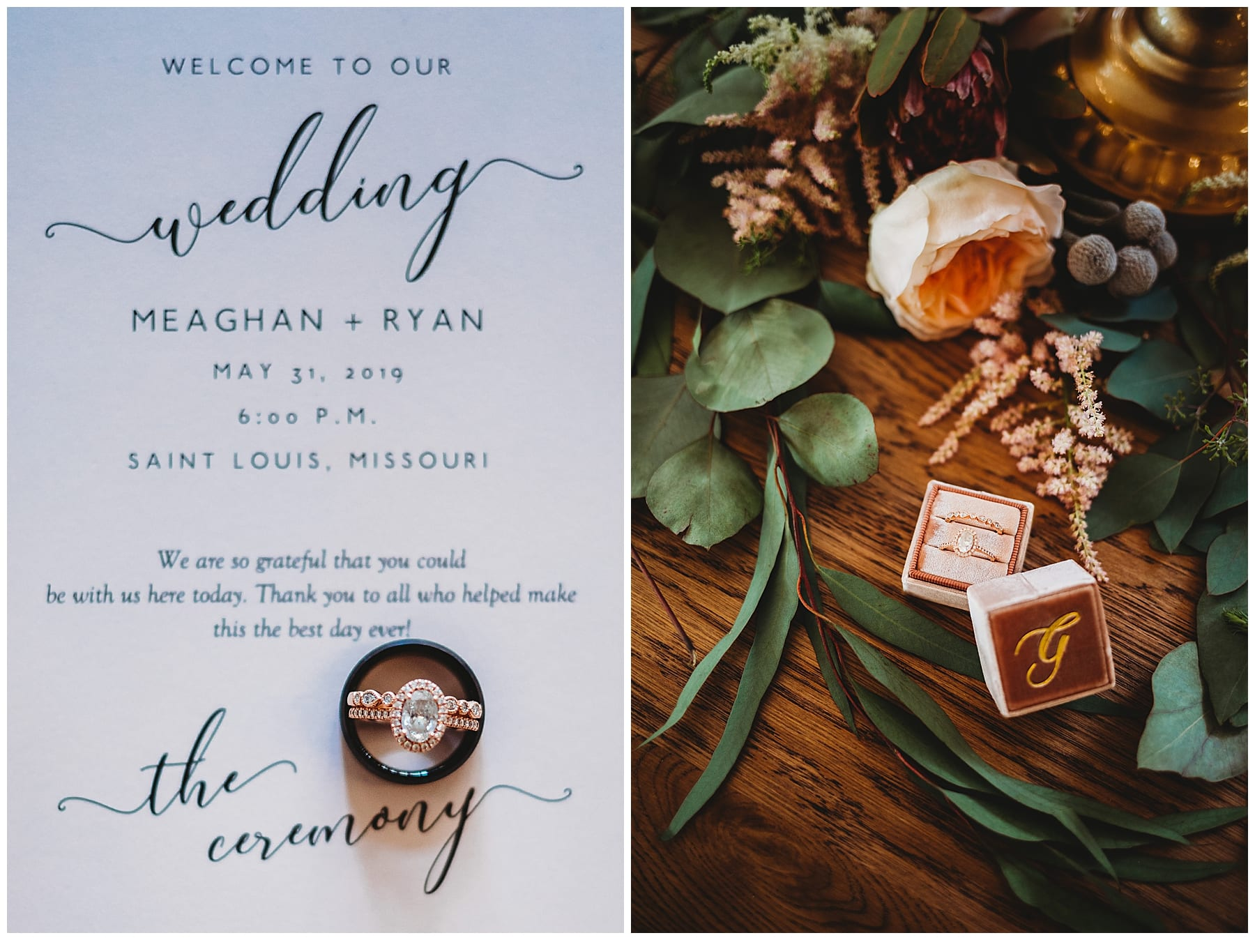 st. louis missouri wedding details rings floral