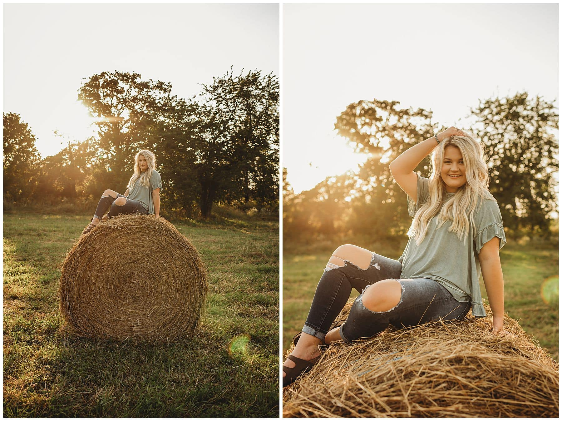 senior on hay bale