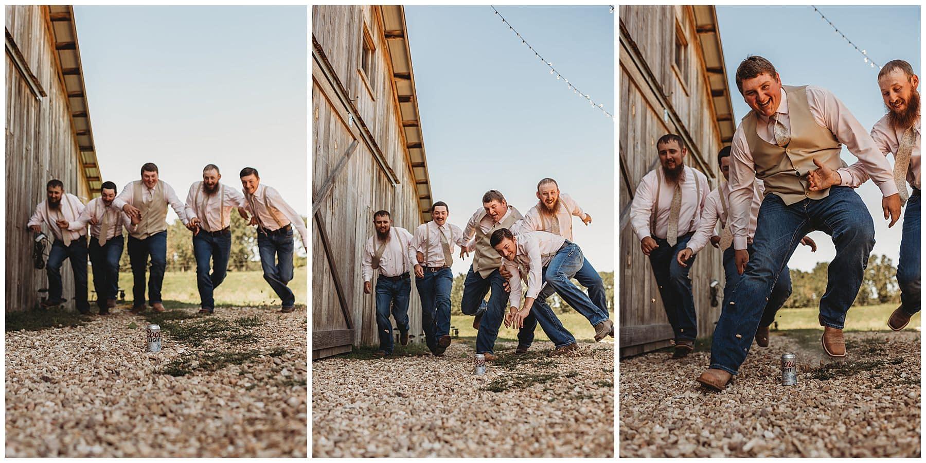 groomsmen running to get beer