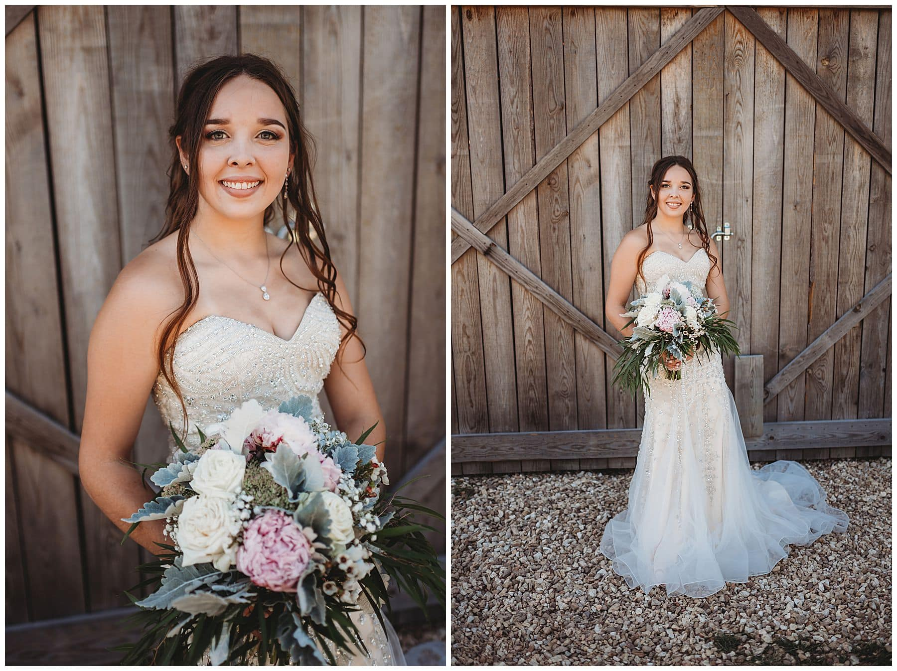 bridal portraits in front of barn