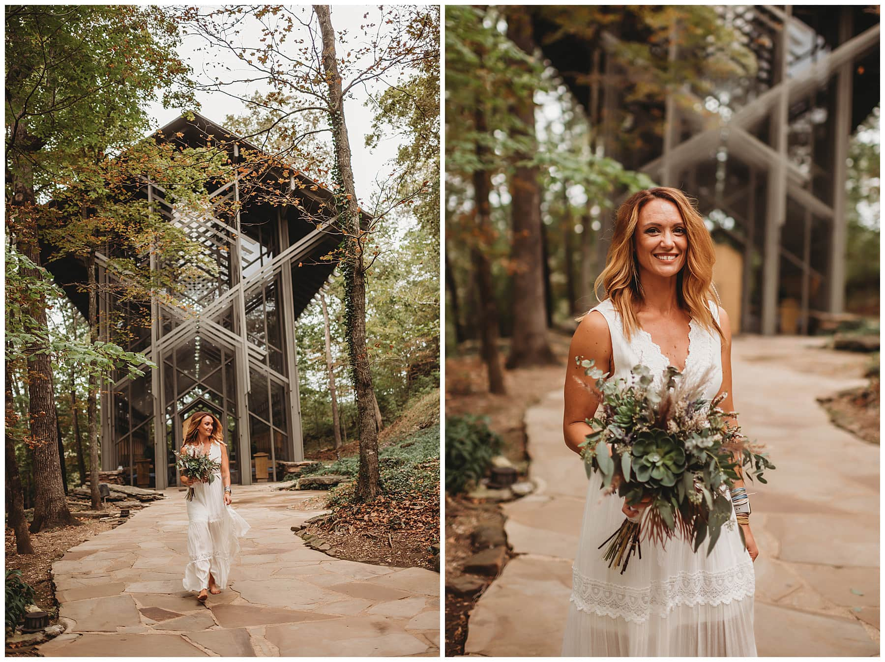 bride at Thorncrown Chapel